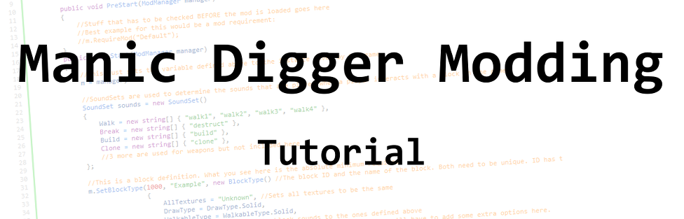 Creating Mods for Manic Digger